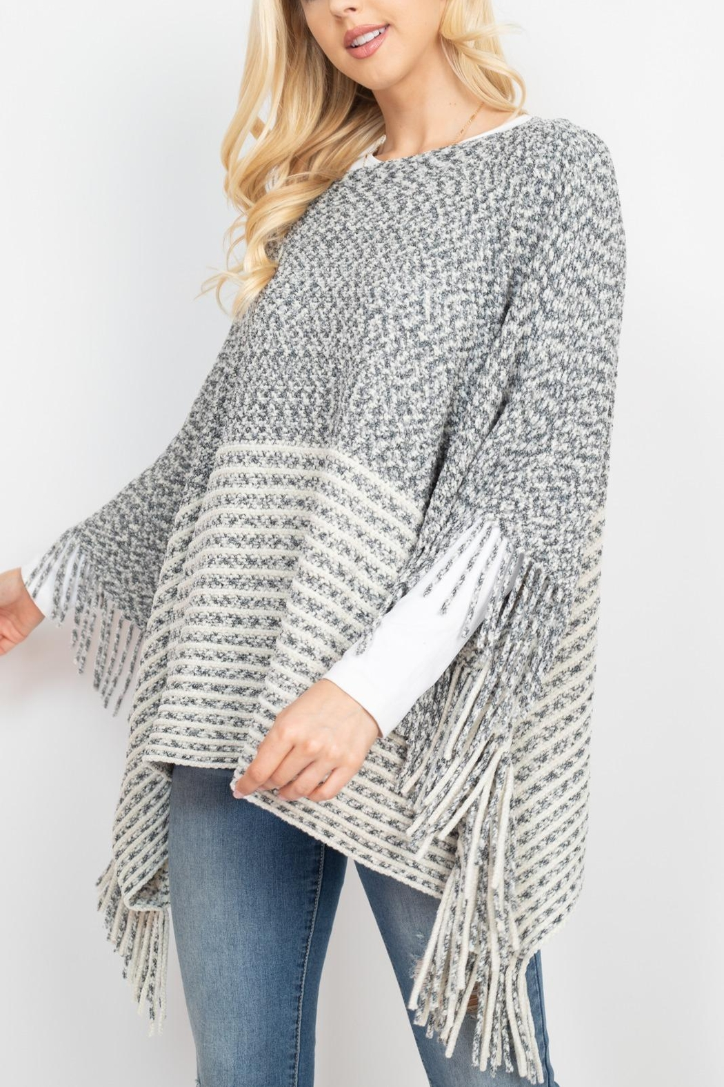 Riah Fashion Knitted-Two-Tone-Striped-Fringe-Poncho - Back Cropped Image