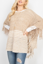 Riah Fashion Knitted-Two-Tone-Striped-Fringe-Poncho - Other
