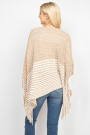 Riah Fashion Knitted-Two-Tone-Striped-Fringe-Poncho - Side cropped