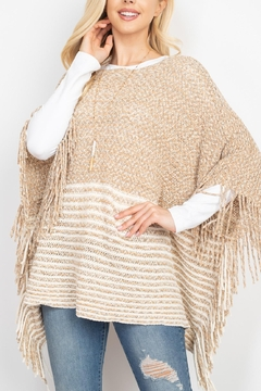 Riah Fashion Knitted-Two-Tone-Striped-Fringe-Poncho - Product List Image