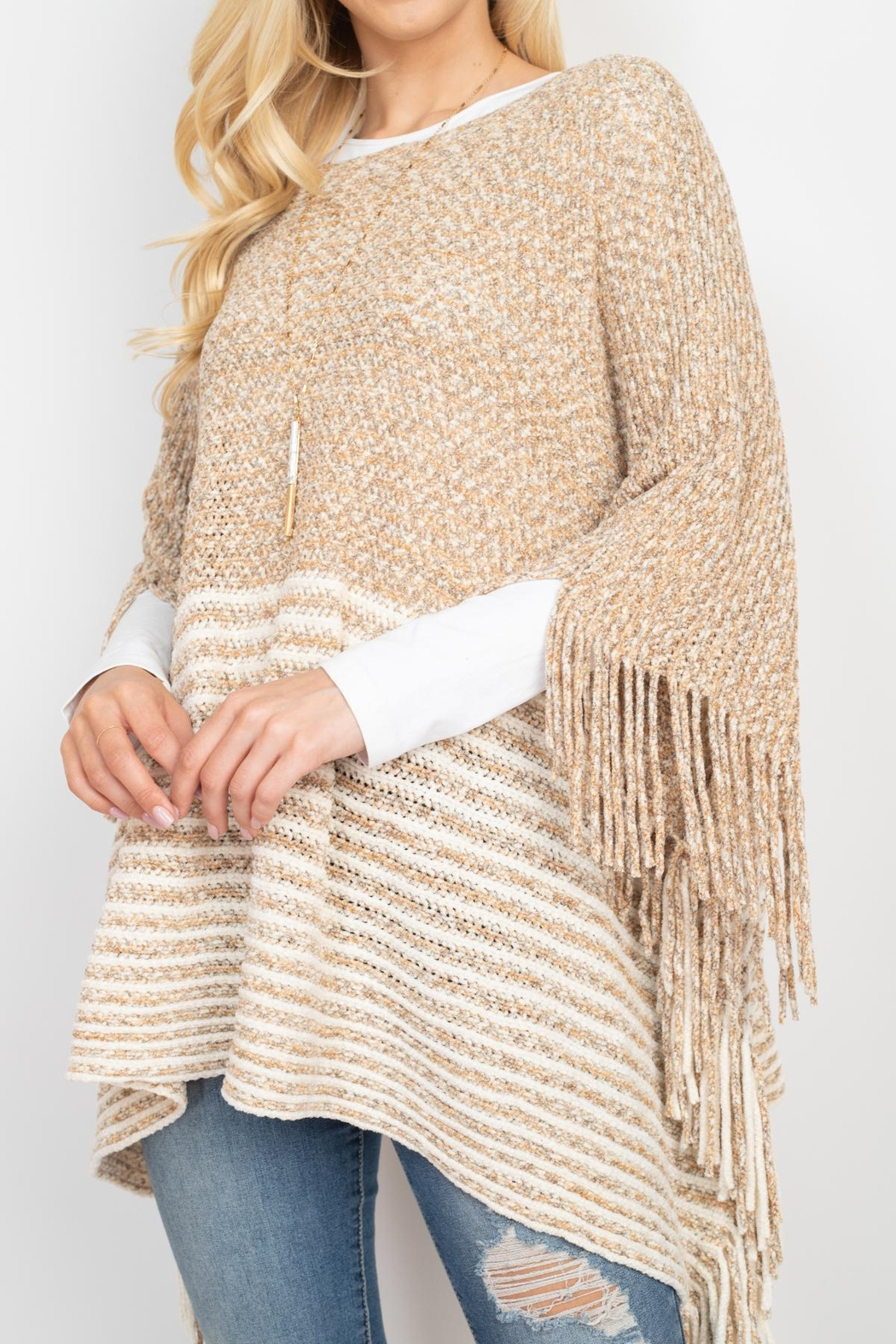 Riah Fashion Knitted-Two-Tone-Striped-Fringe-Poncho - Front Full Image