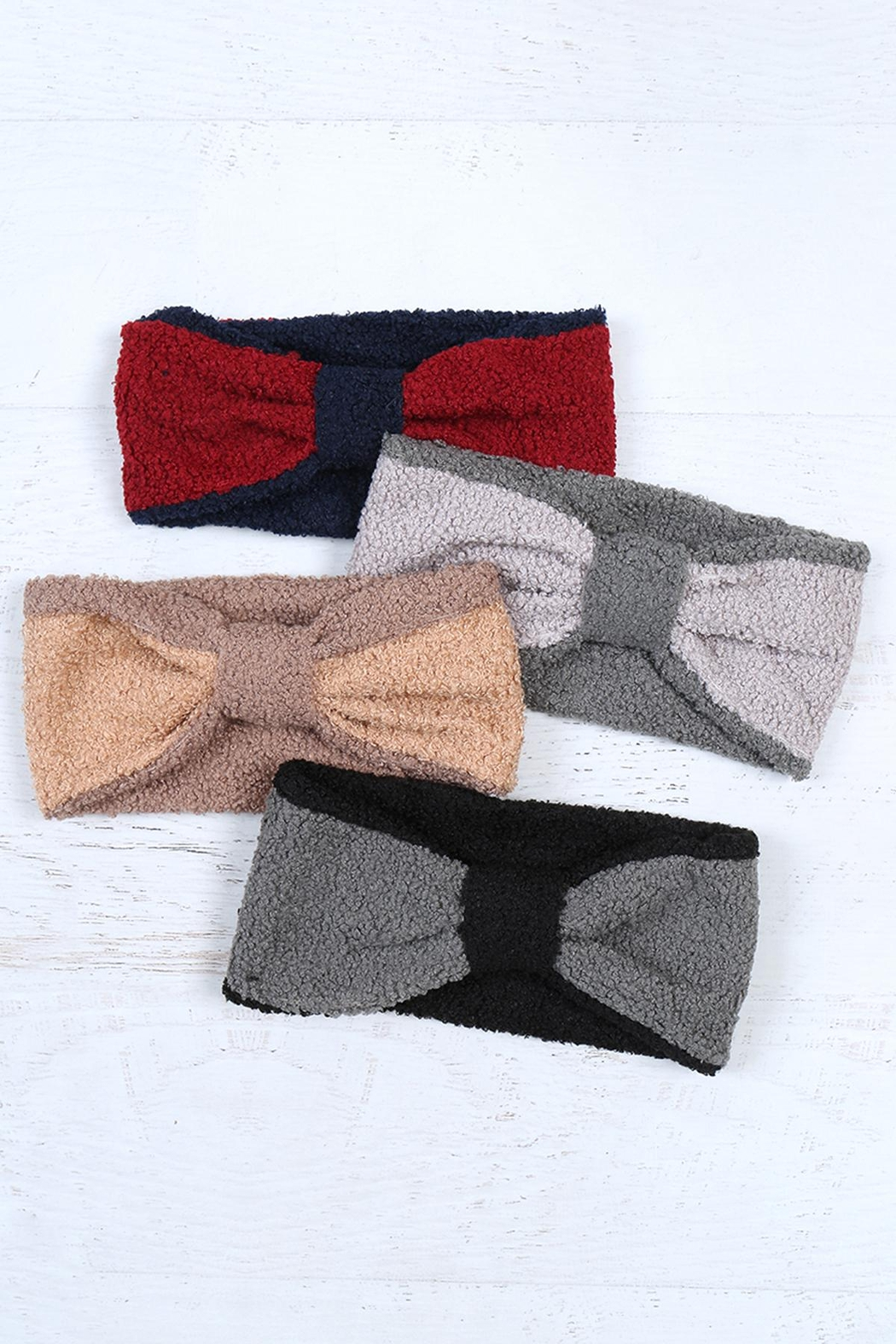 Riah Fashion Knotted-Fleece-Headband-Wrap-Assorted-Set - Front Full Image