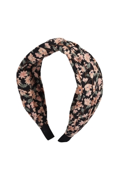 Riah Fashion Knotted-Floral-Fabric-Coated Head Band - Product List Image