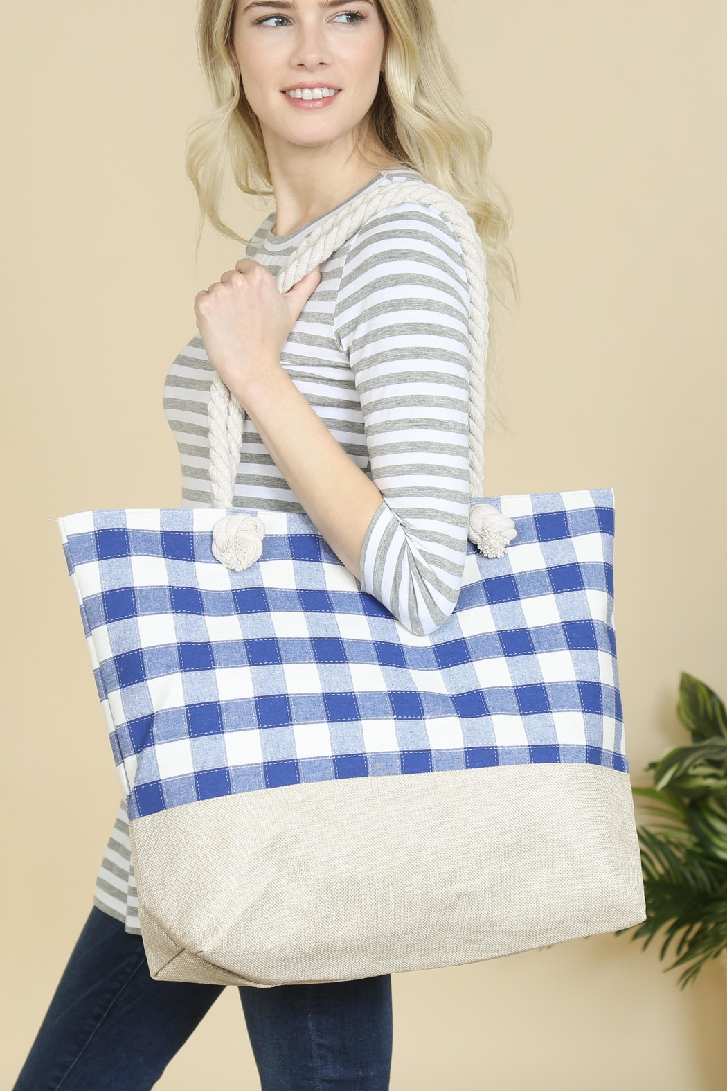 Riah Fashion Knotted Stripes Tote Bag - Front Full Image