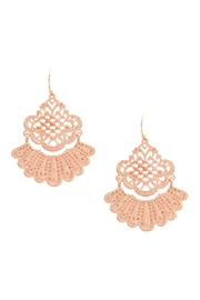 Riah Fashion Lace Filigree-Metal Hook-Earrings - Front cropped