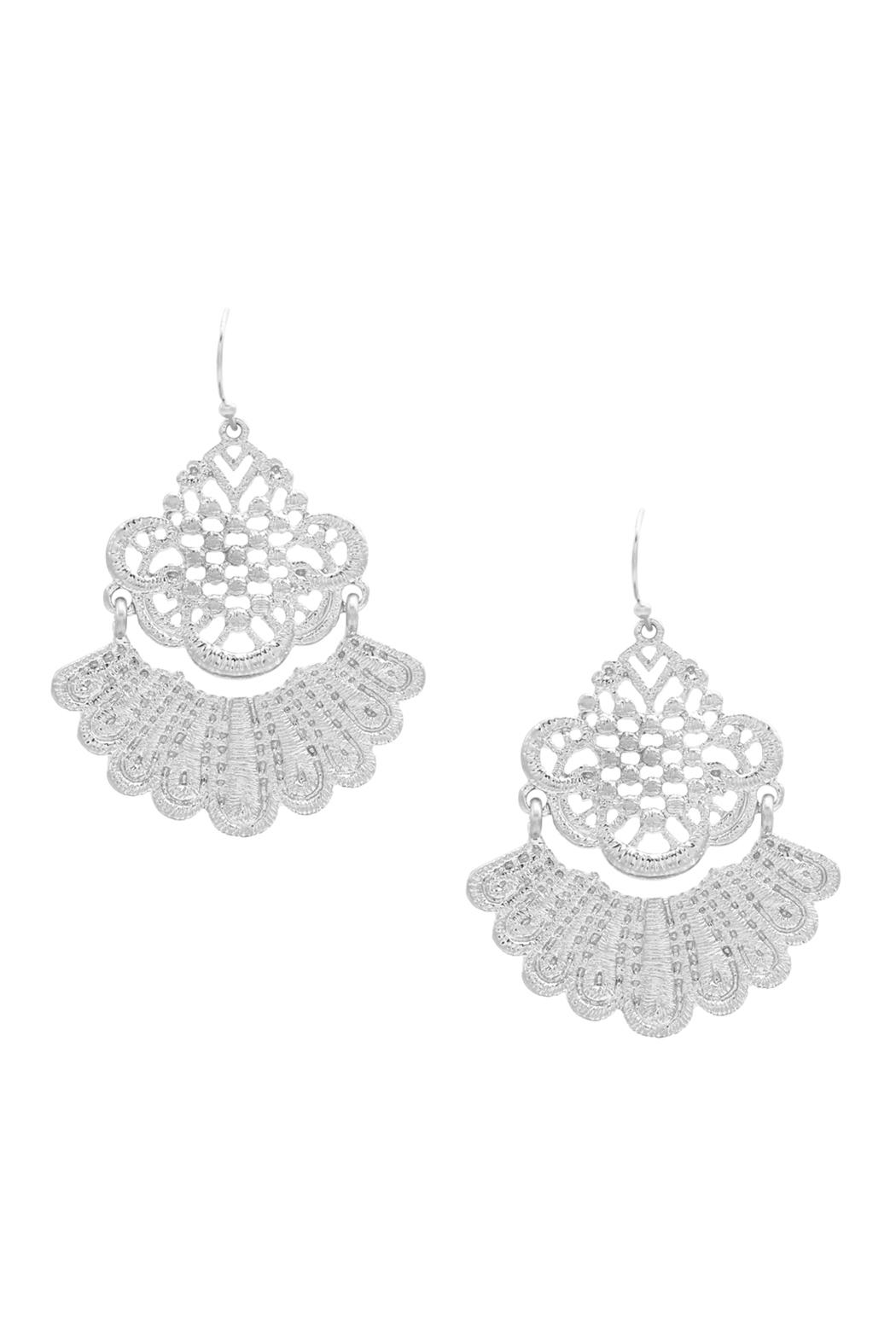 Riah Fashion Lace Filigree-Metal Hook-Earrings - Front Cropped Image