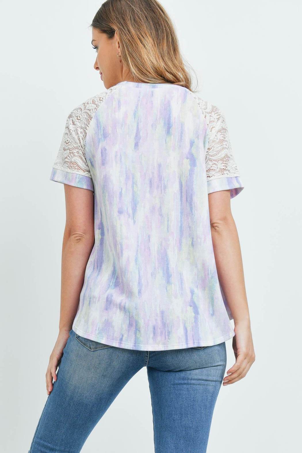 Riah Fashion Lace-Sleeve-Thermal-Tie-Dye-Top - Front Full Image