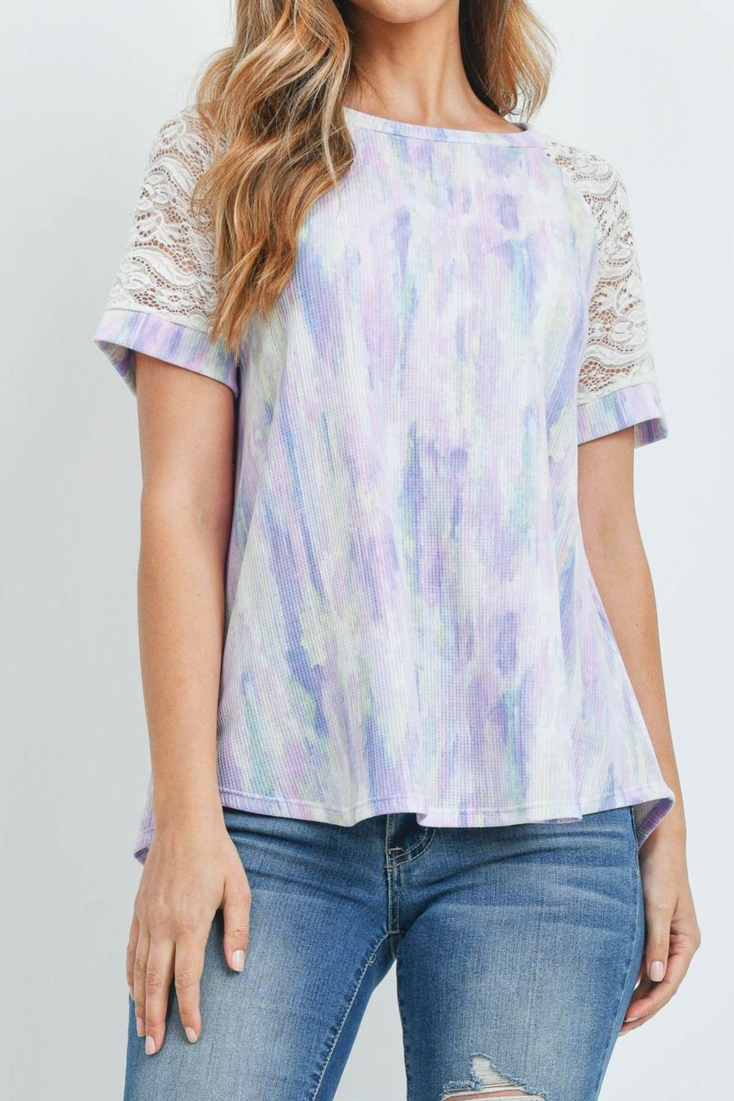 Riah Fashion Lace-Sleeve-Thermal-Tie-Dye-Top - Front Cropped Image