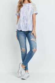 Riah Fashion Lace-Sleeve-Thermal-Tie-Dye-Top - Side cropped