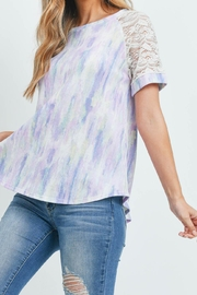 Riah Fashion Lace-Sleeve-Thermal-Tie-Dye-Top - Other