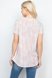 Riah Fashion Lace-Sleeve-Thermal-Tie-Dye-Top - Front full body