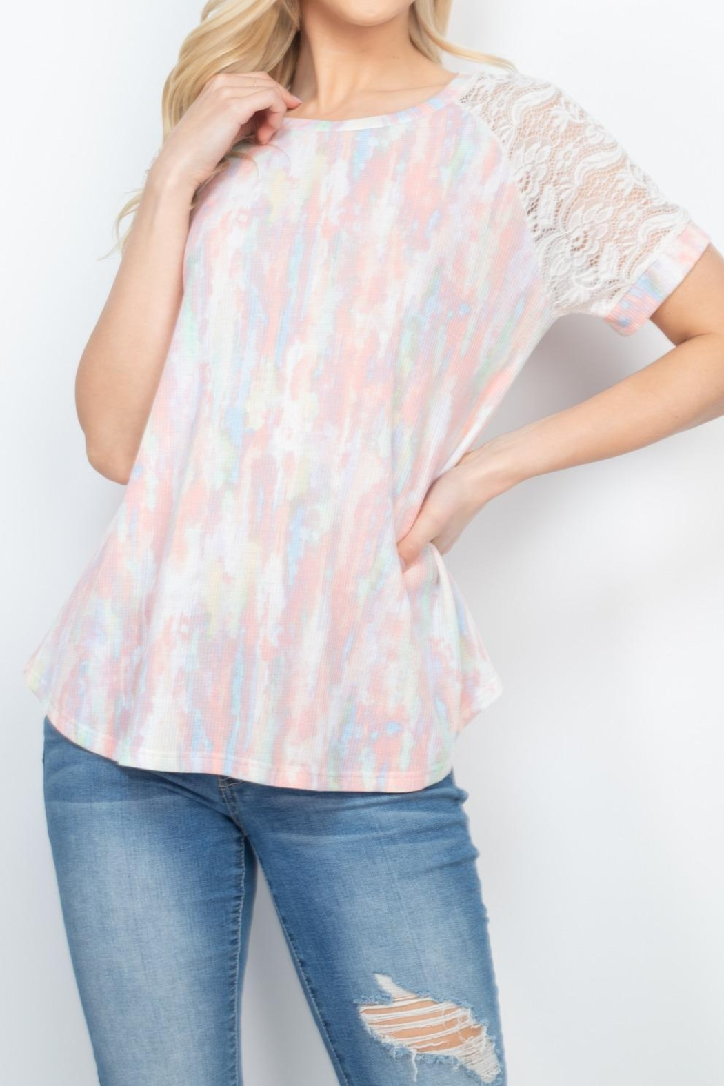 Riah Fashion Lace-Sleeve-Thermal-Tie-Dye-Top - Back Cropped Image