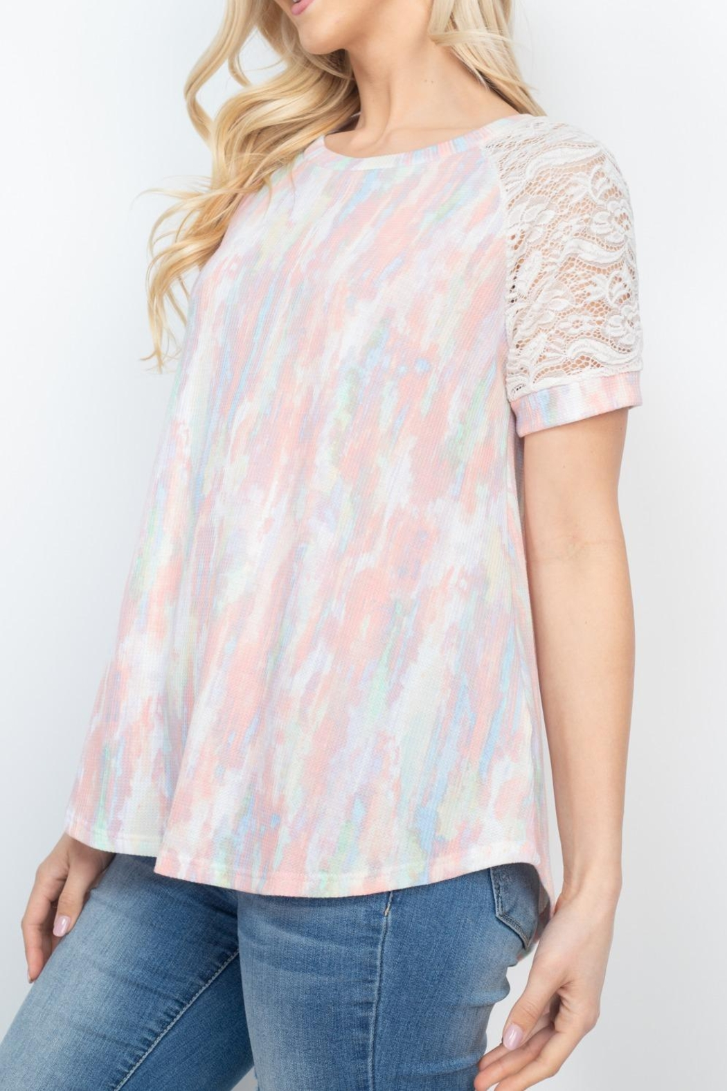 Riah Fashion Lace-Sleeve-Thermal-Tie-Dye-Top - Side Cropped Image