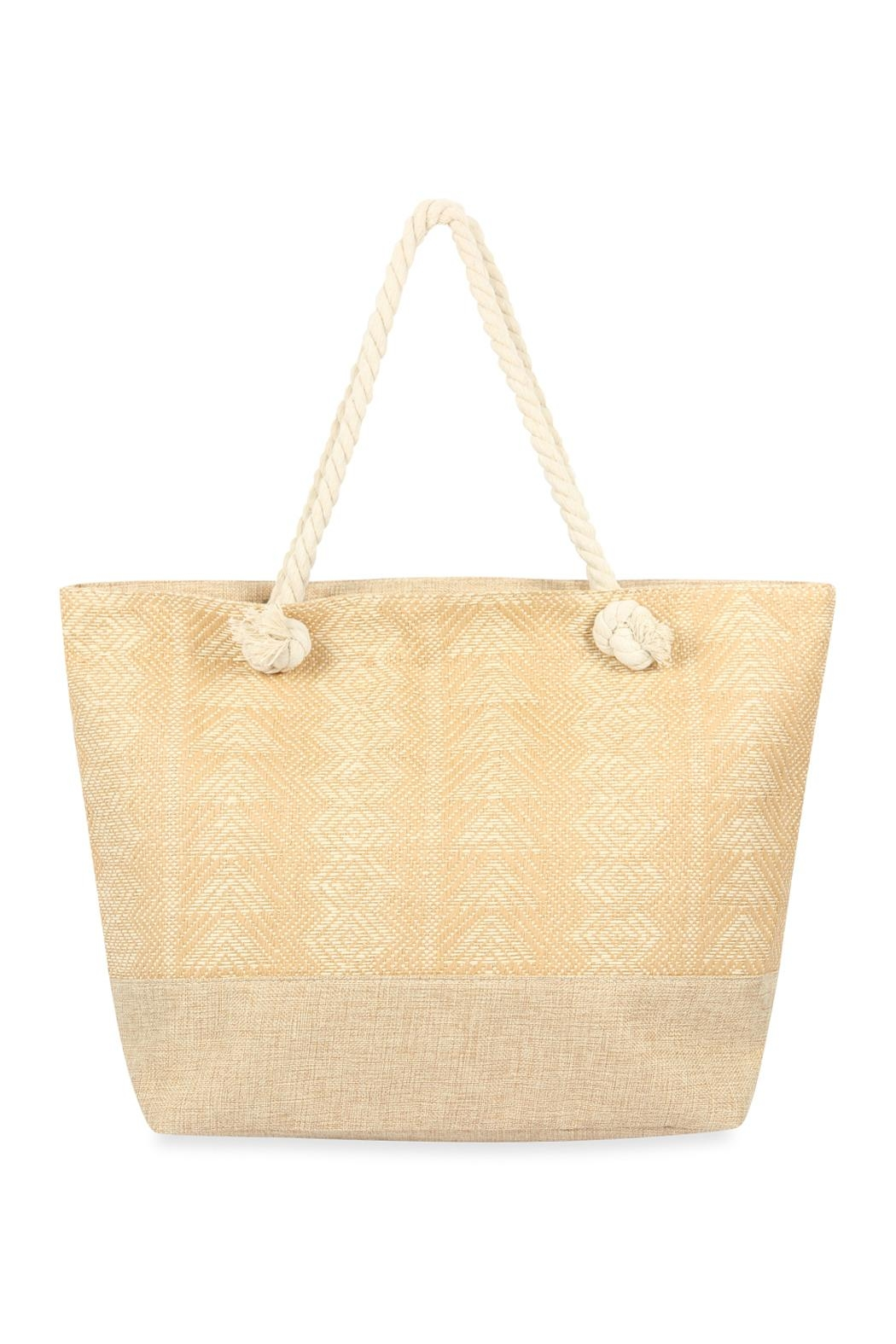Riah Fashion Laced Pattern Weaved Tote Bag - Front Cropped Image