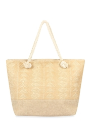 Riah Fashion Laced Pattern Weaved Tote Bag - Front cropped
