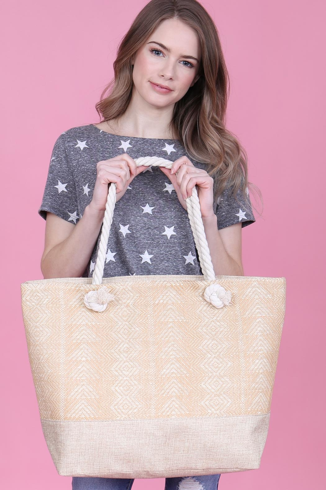 Riah Fashion Laced Pattern Weaved Tote Bag - Front Full Image