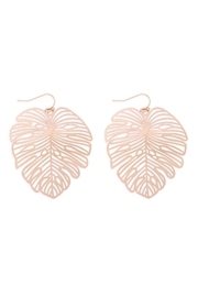 Riah Fashion Laser-Cut-Leaf-Filigree Earrings - Product Mini Image