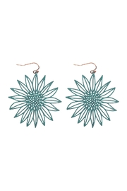 Riah Fashion Laser Cut Sunflower Fish Hook Earrings - Front cropped