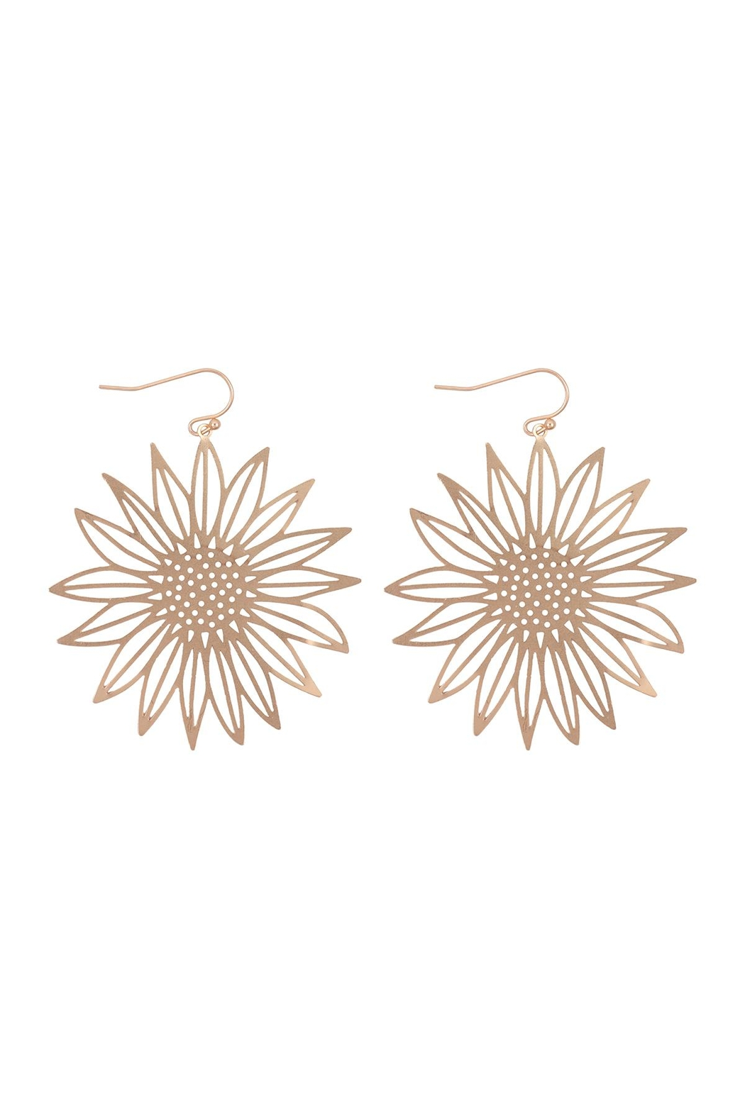 Riah Fashion Laser Cut Sunflower Fish Hook Earrings - Front Cropped Image