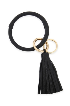 Shoptiques Product: Leather-Coated Key-Ring With-Leather-Tassel