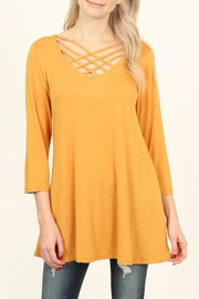 Riah Fashion Lattice Strap Flared-Tunic - Product Mini Image