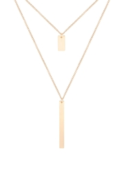 Riah Fashion Layered-Bar-Satin-Brass-Pendant-Necklace - Front cropped