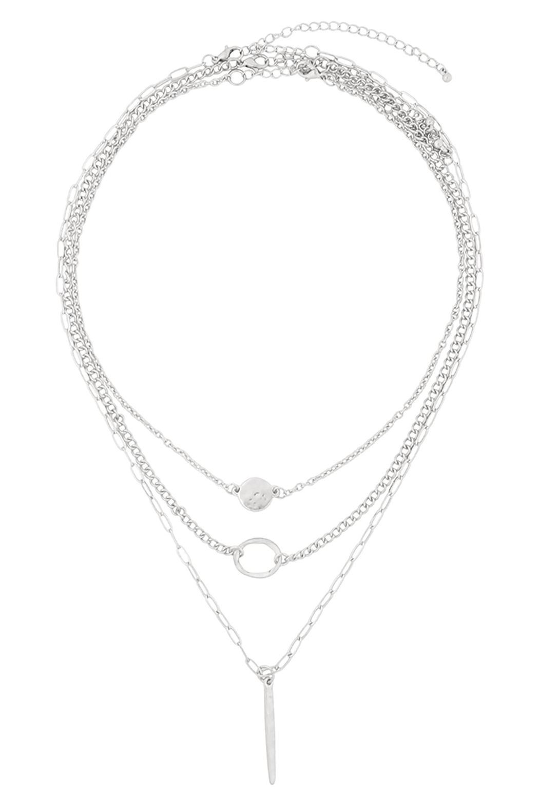 Riah Fashion Layered-Chain-Disk-Open-Circle-Bar-Necklace - Front Full Image