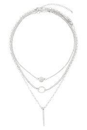 Riah Fashion Layered-Chain-Disk-Open-Circle-Bar-Necklace - Front full body