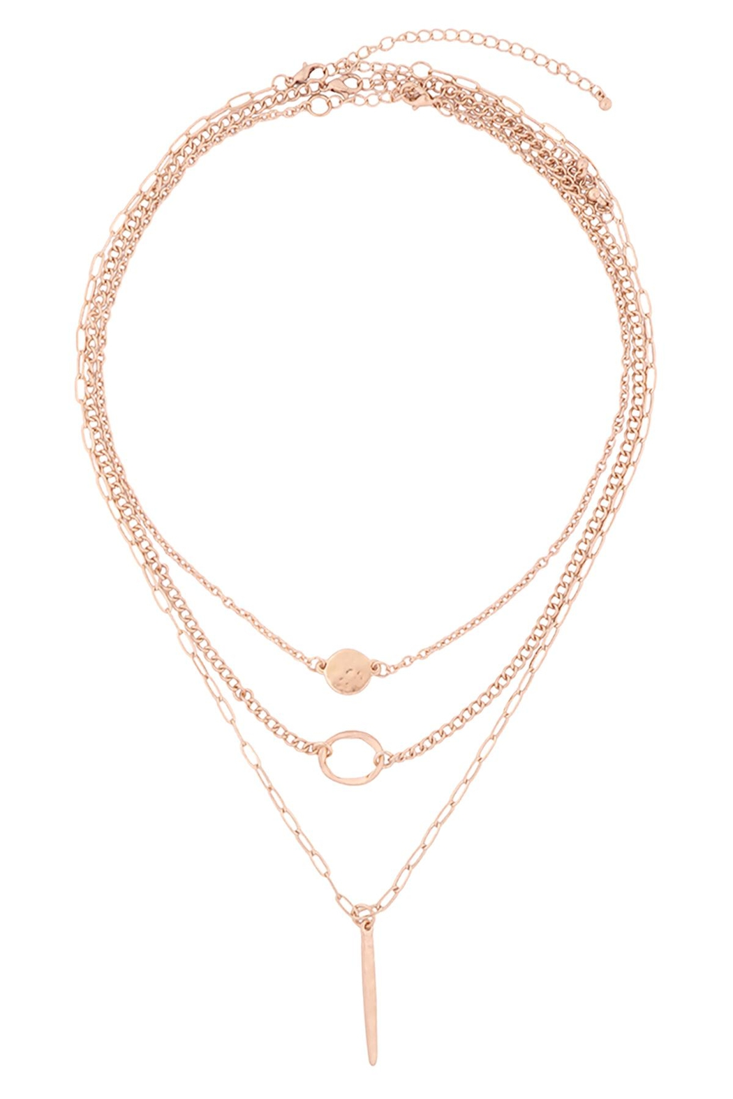 Riah Fashion Layered-Chain-Disk-Open-Circle-Bar-Necklace - Front Cropped Image