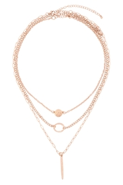Riah Fashion Layered-Chain-Disk-Open-Circle-Bar-Necklace - Front cropped