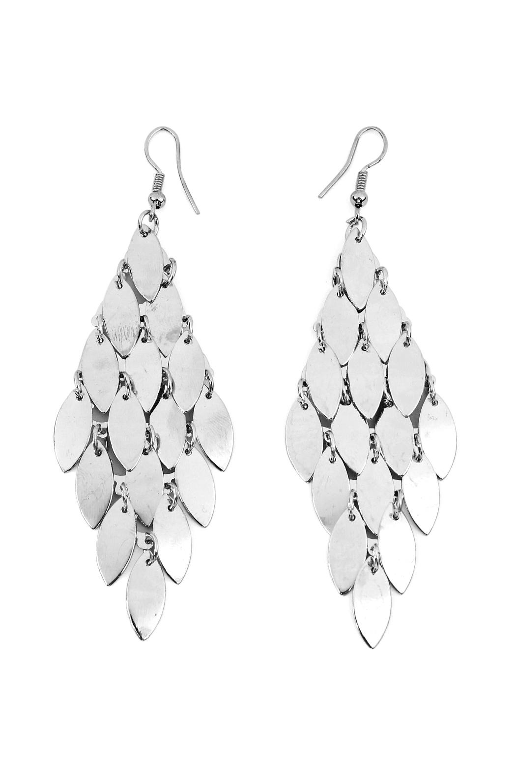 Riah Fashion Layered Chandelier Leaf Earrings - Front Cropped Image