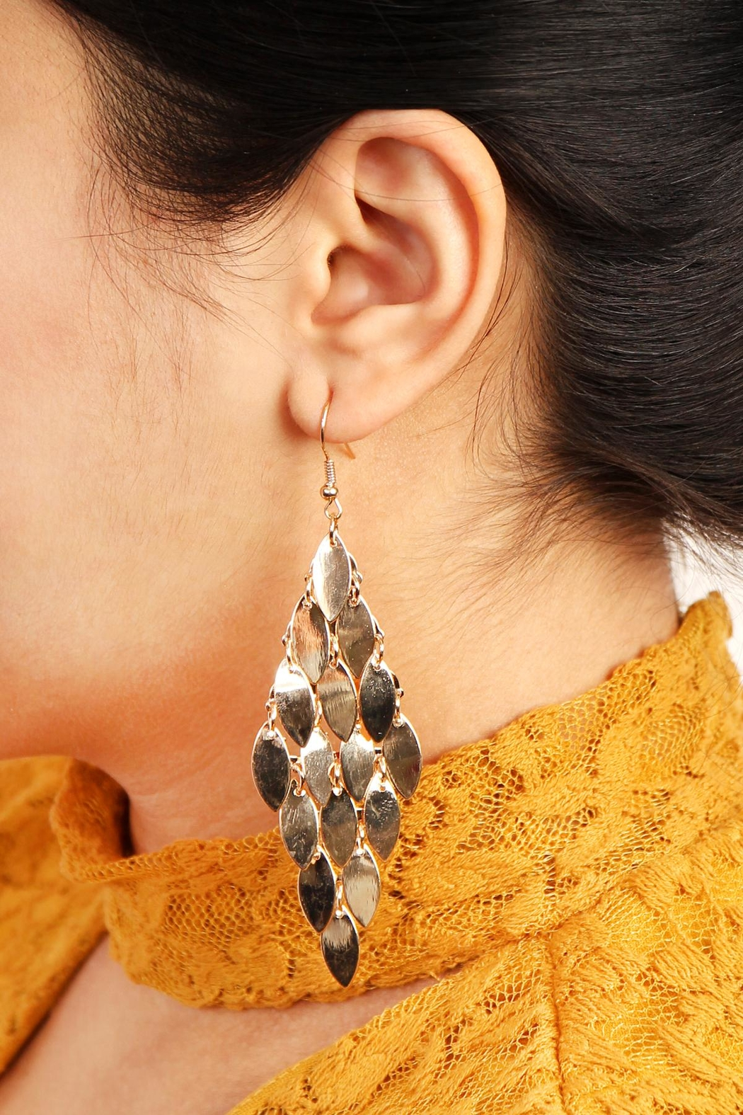 Riah Fashion Layered Chandelier Leaf Earrings - Front Full Image