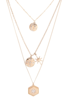 Shoptiques Product: Layered-Moon-Star-Cubic-Coin-Pendant-Necklace-Set