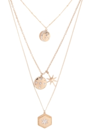 Riah Fashion Layered-Moon-Star-Cubic-Coin-Pendant-Necklace-Set - Product Mini Image