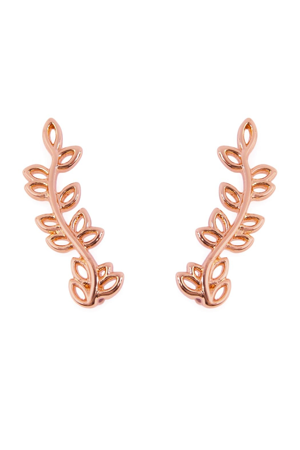 Riah Fashion Leaf Crawler Earrings - Front Cropped Image