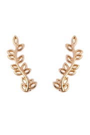 Riah Fashion Leaf Crawler Earrings - Front cropped