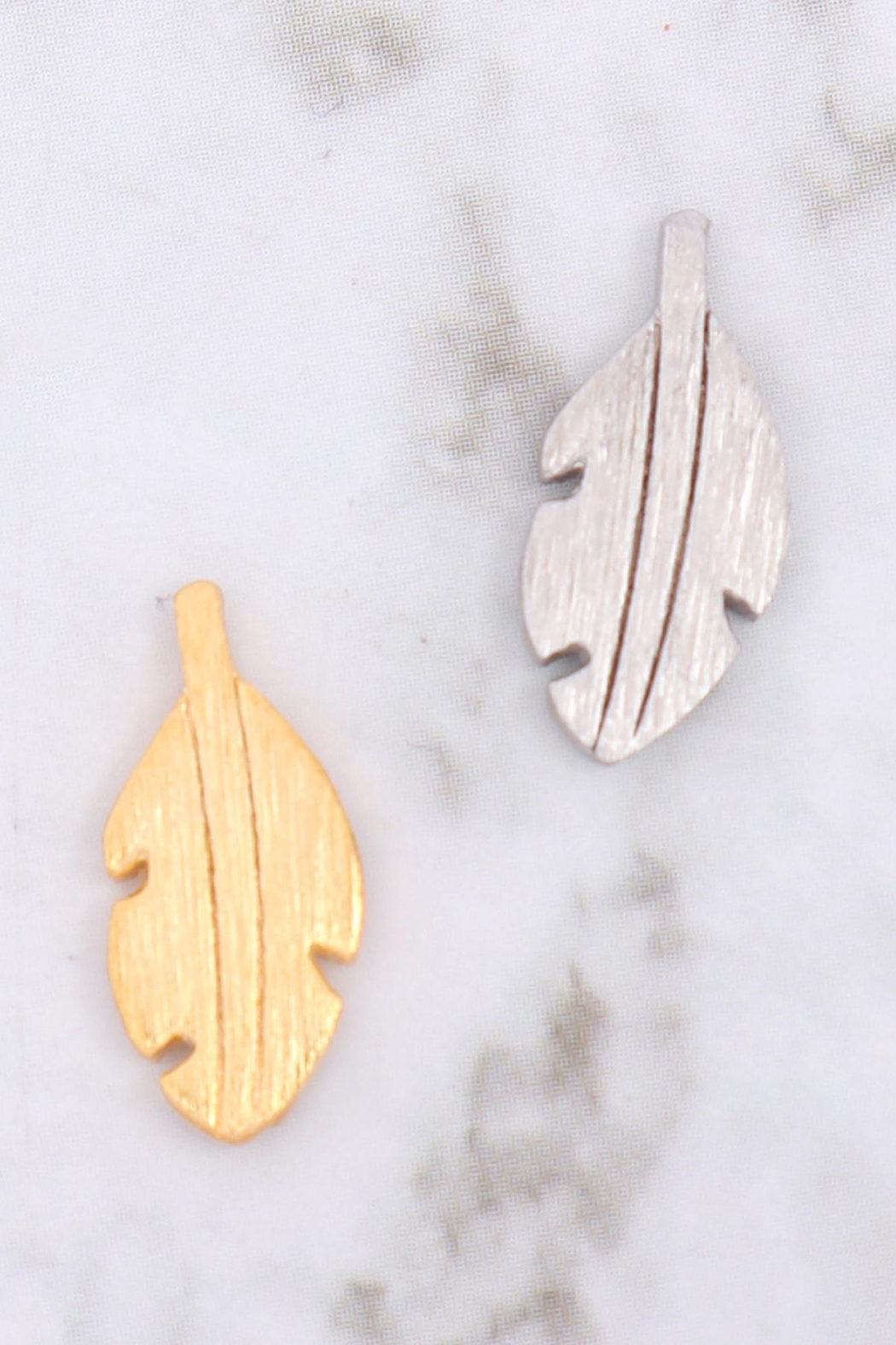 Riah Fashion Leaf-Rough-Finish-Post-Earrings - Front Full Image