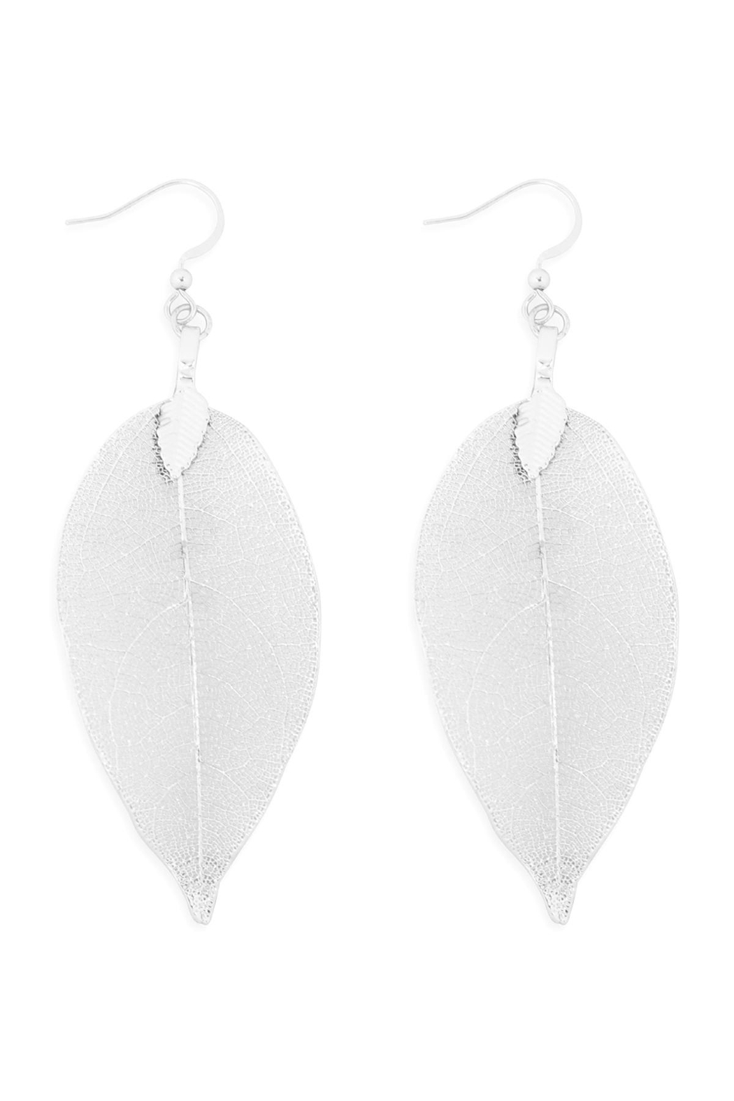 Riah Fashion Leaf-Textured-Drop-Hook-Earrings - Front Cropped Image