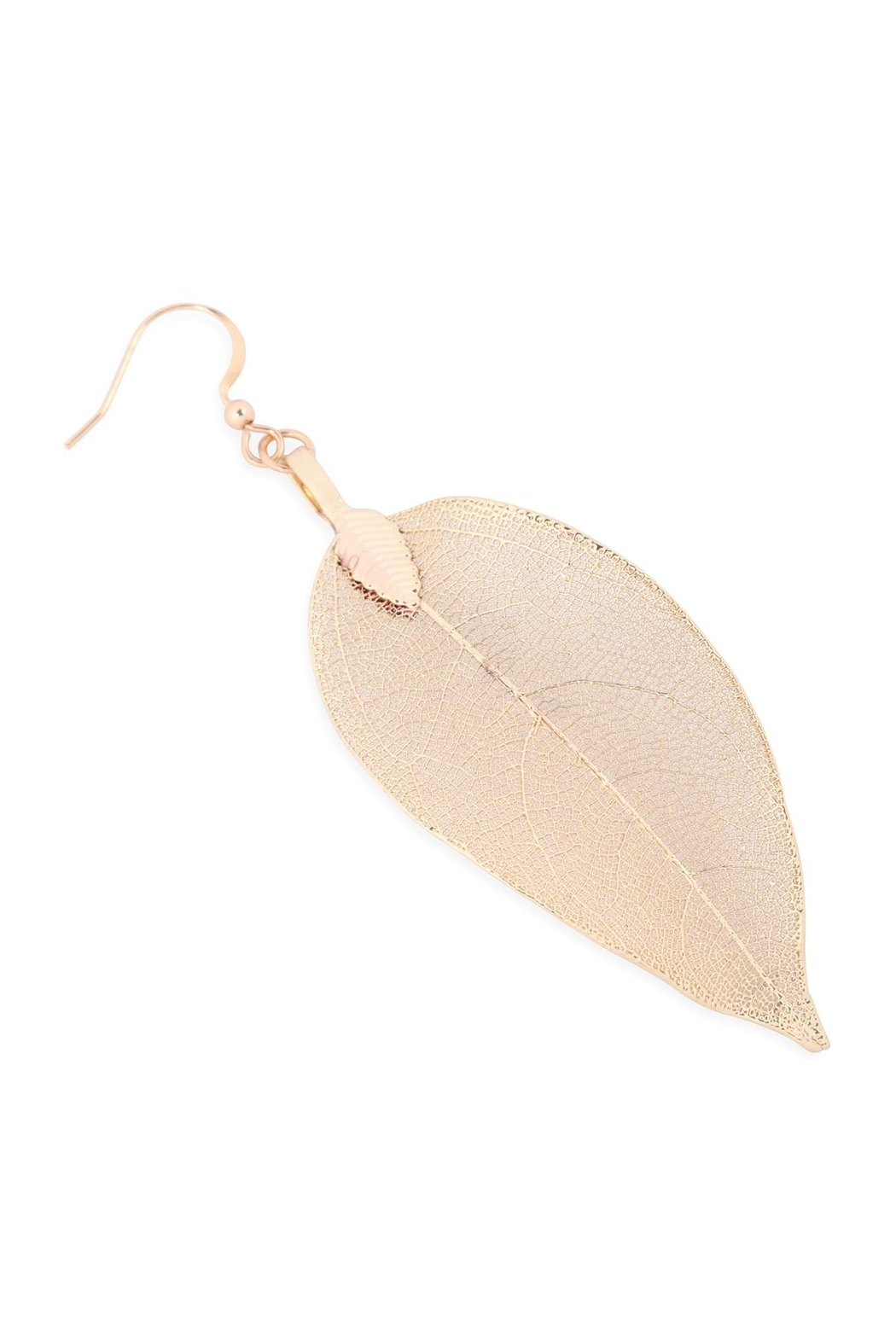 Riah Fashion Leaf-Textured-Drop-Hook-Earrings - Front Full Image