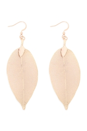 Riah Fashion Leaf-Textured-Drop-Hook-Earrings - Front cropped