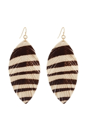 Riah Fashion Leather Animal Print-Fringe-Hook-Earrings - Product Mini Image