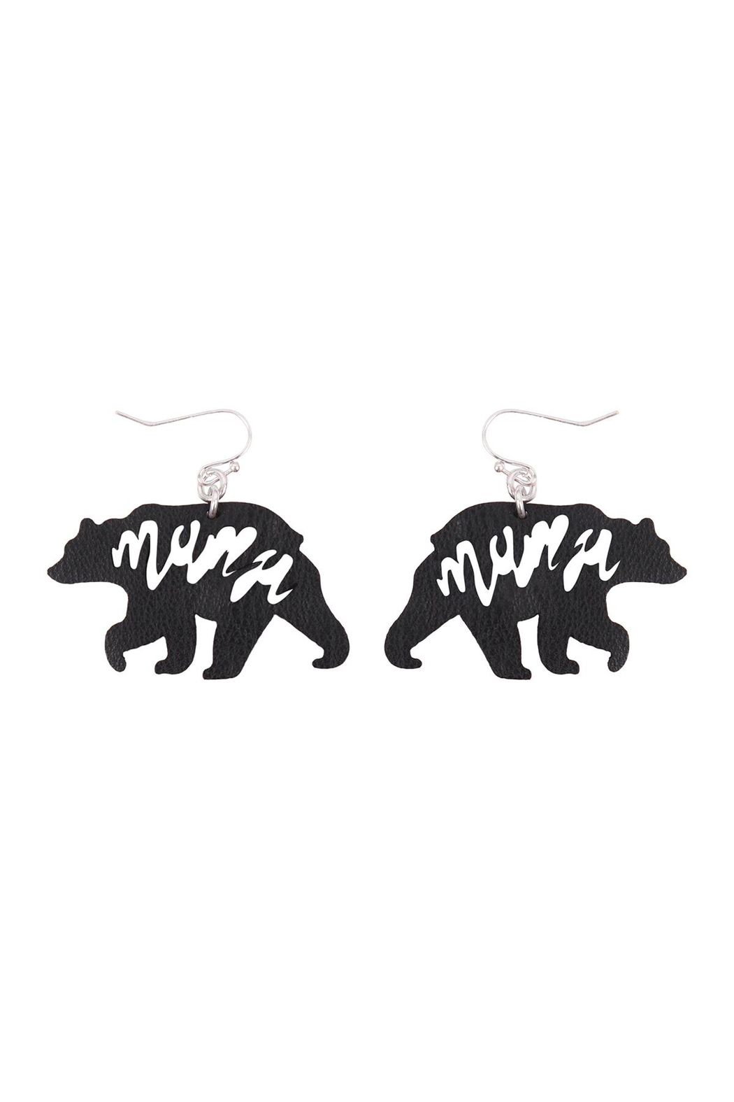 Riah Fashion Leather Bear Mama Fish Hook Earrings - Front Cropped Image