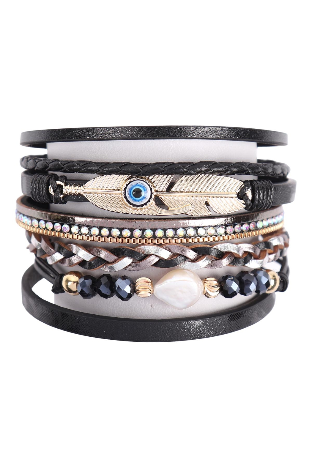 Riah Fashion Leather-Bracelet-With-Feather-And-Evil-Eye-Charm - Front Cropped Image