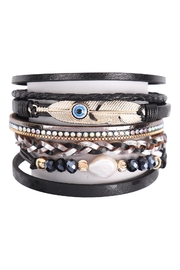 Riah Fashion Leather-Bracelet-With-Feather-And-Evil-Eye-Charm - Front cropped
