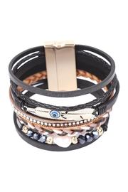 Riah Fashion Leather-Bracelet-With-Feather-And-Evil-Eye-Charm - Front full body