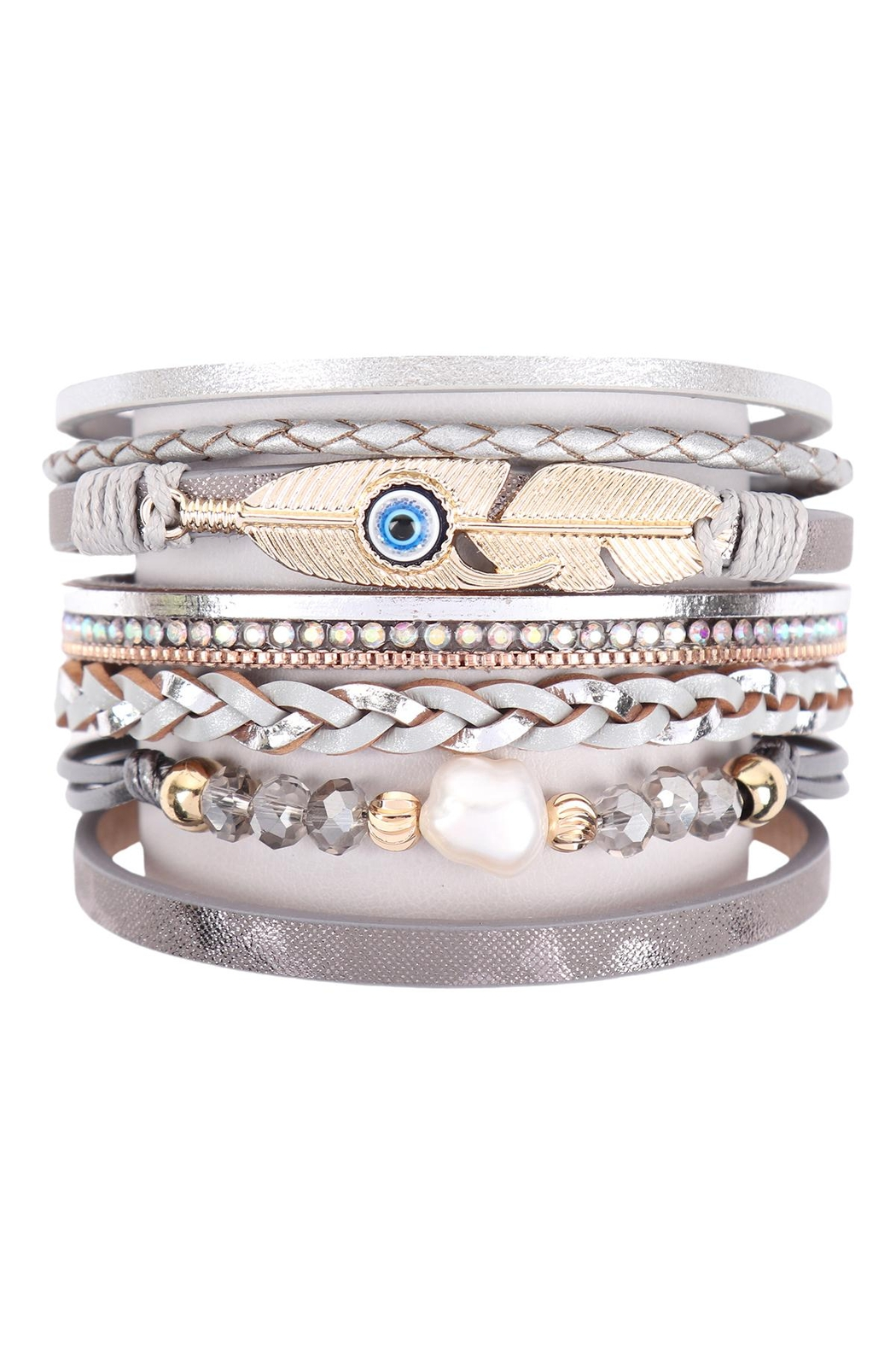 Riah Fashion Leather-Bracelet-With-Feather-And-Evil-Eye-Charm - Main Image