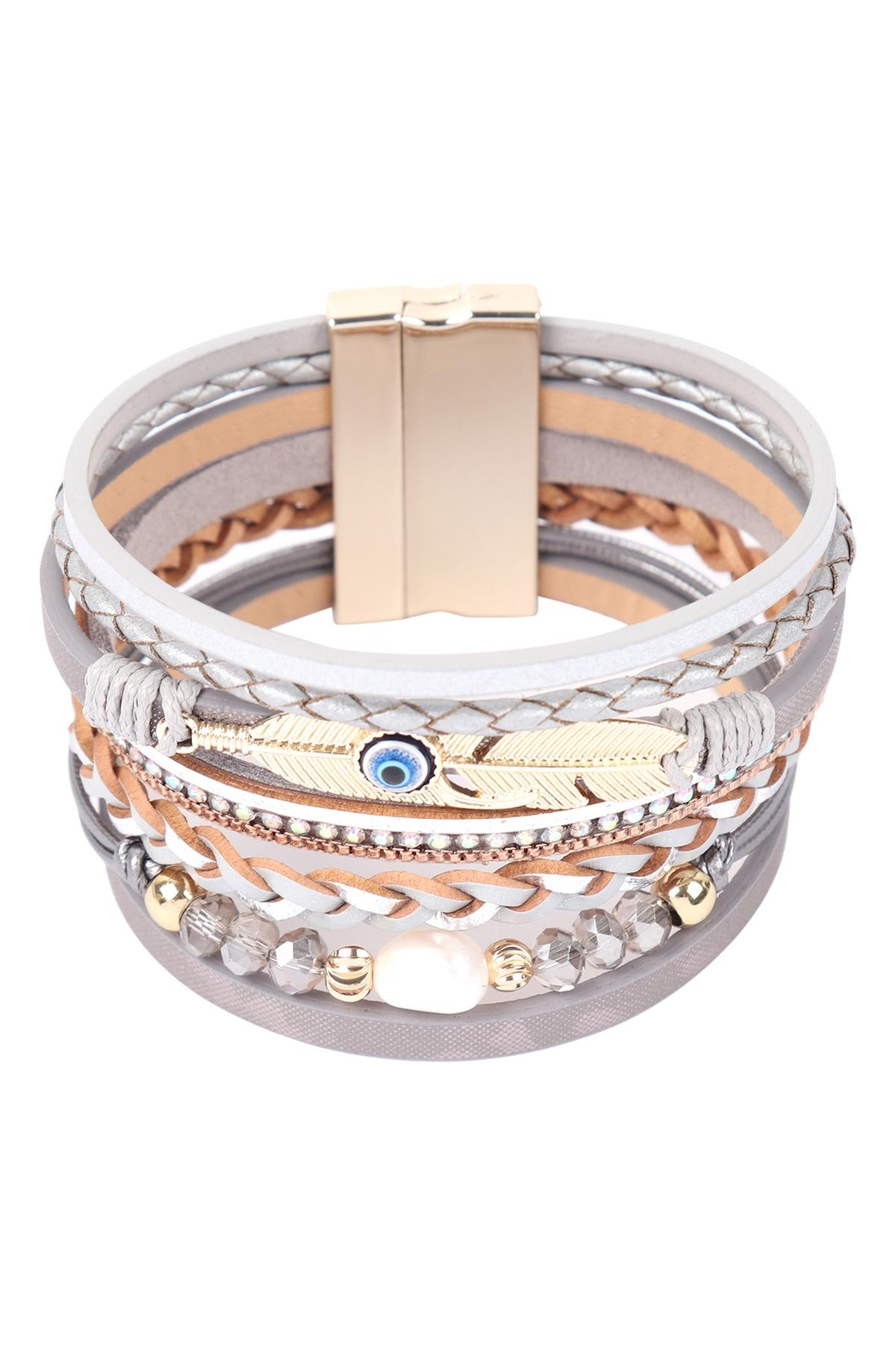 Riah Fashion Leather-Bracelet-With-Feather-And-Evil-Eye-Charm - Front Full Image