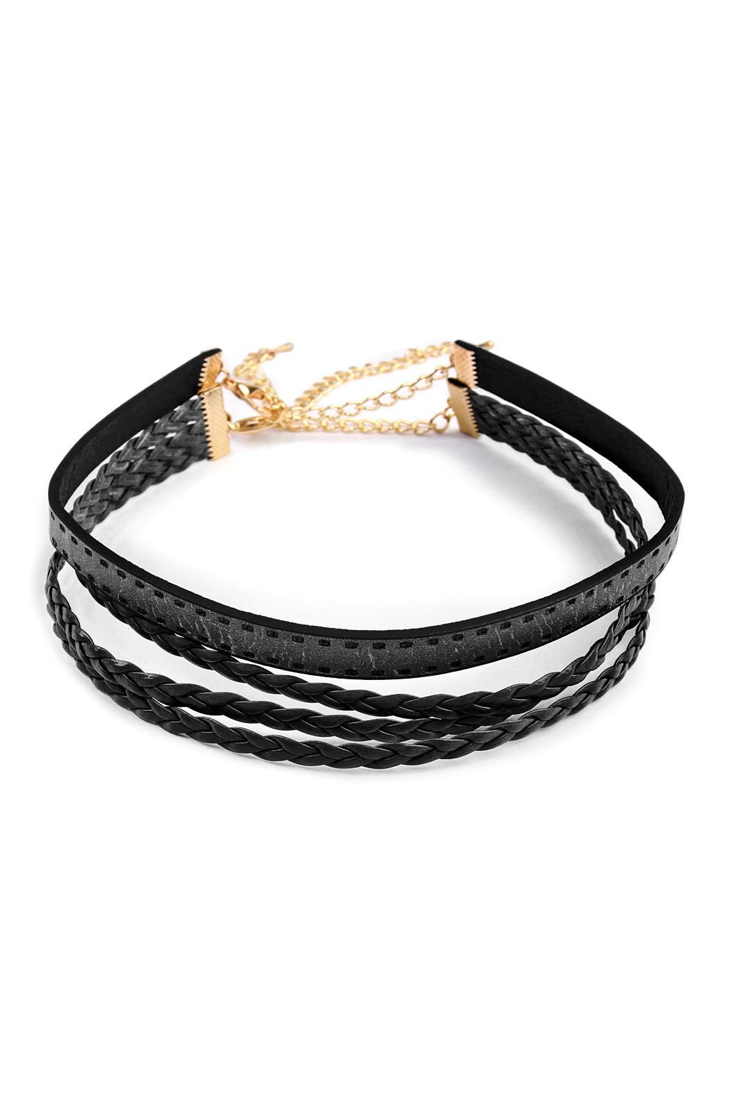 Riah Fashion Leather Braid Choker - Front Cropped Image