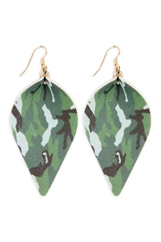 Riah Fashion Leather Camou-Pinched Teardrop-Earrings - Product Mini Image