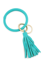 Riah Fashion Leather-Coated Key-Ring With-Leather-Tassel - Product Mini Image